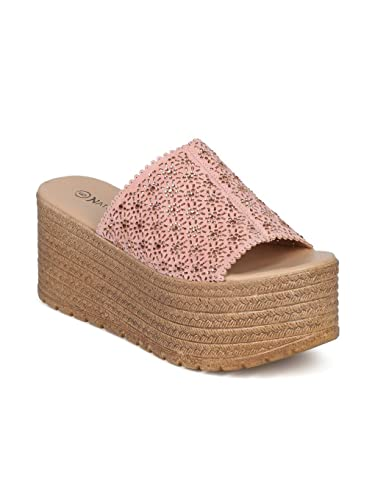 4ae1bdb2871 Alrisco Women Perforated Rhinestone Open Toe Platform Wedge Sandal HG65 -  Pink Mix Media (Size