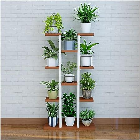 IDWOI Estantería De Macetas Soporte Macetas Estantería para Plantas Metal Exterior Multicapa Escalera para Flores Interior Flores Estantería, 5 Colores (Color : White+Brown): Amazon.es: Hogar
