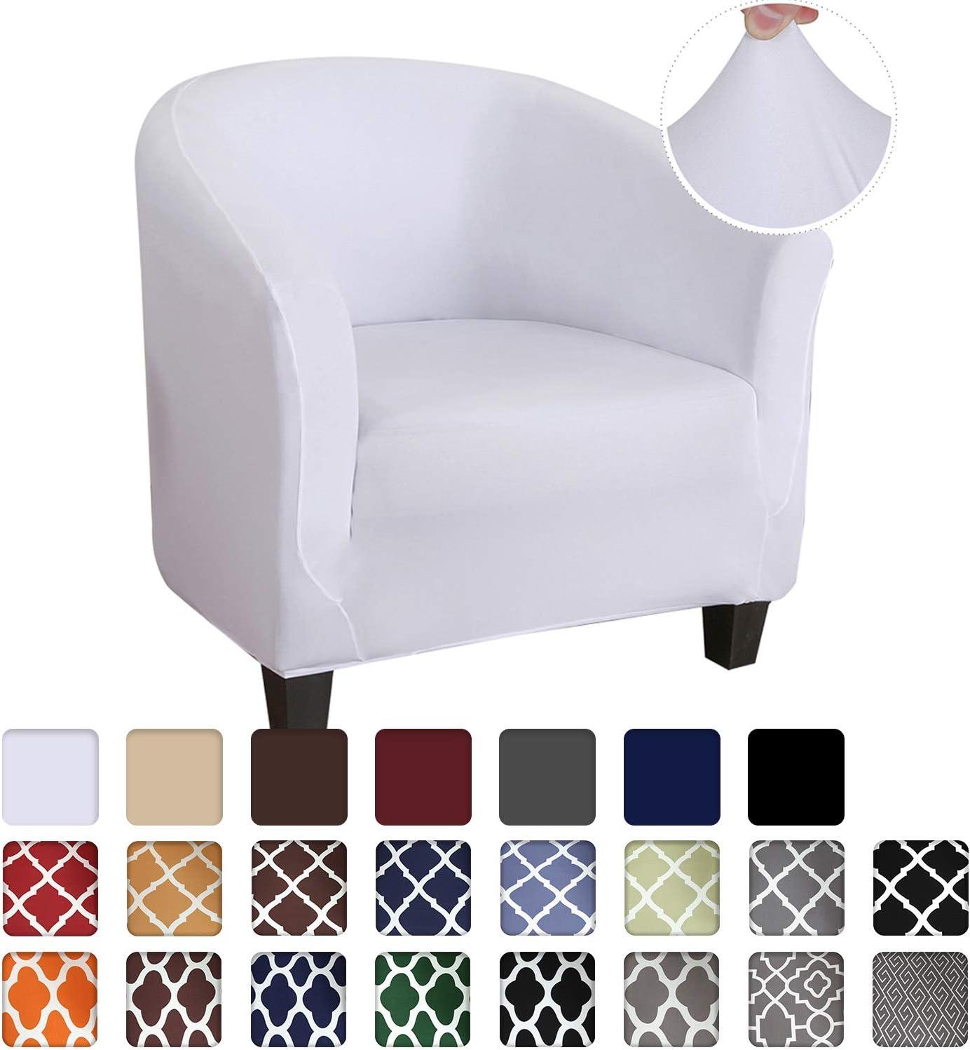 HIFUAR Funda de Sillón Chesterfield Elásticas Lavable Cubre Sofá de 1 Plaza Universal Antideslizantes Cubierta Protector de Muebles para Butaca,Sofá,Chester 1 Plaza,Color Blanco
