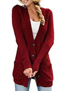 e535ff732c94 Sidefeel Women Open Front Pocket Cardigan Sweater Button Down Knit Sweater  Coat