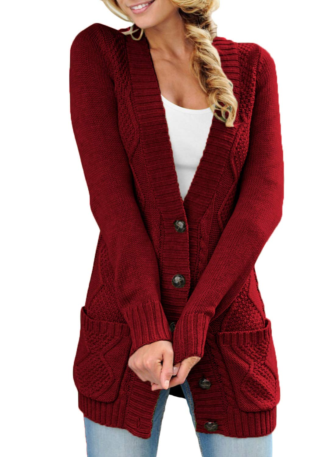 LOSRLY Women Open Front Cabel Knit Cardigan Button Down Long Sleeve Sweater Coat Outwear with Pockets-Wine XXL 18 20