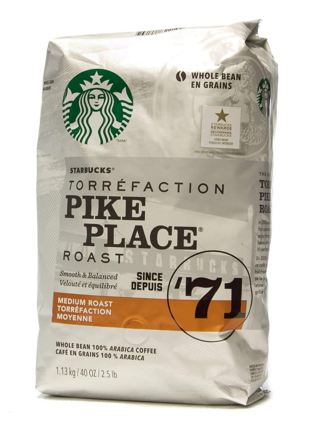 CDM product Starbucks Pike Place Medium Roast Whole Bean Coffee 40 oz (1 Pack) big image