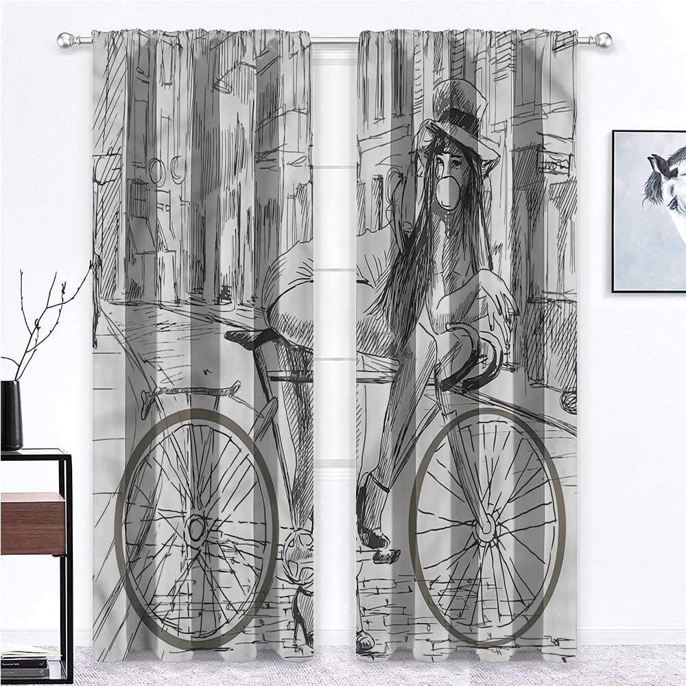 SINXY&CASE Kitchen Curtains Bicycle Soundproof Window Curtain Panels Outrageous Woman Chews Gum Drapes for Bedroom/Study Room/Sliding Door 2 Rod Pocket Panels, 42