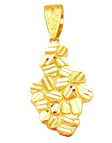 Amazon mens 10k yellow gold nugget hip hop charm nugget pendant mens 10k yellow gold nugget hip hop charm nugget pendant aloadofball Images