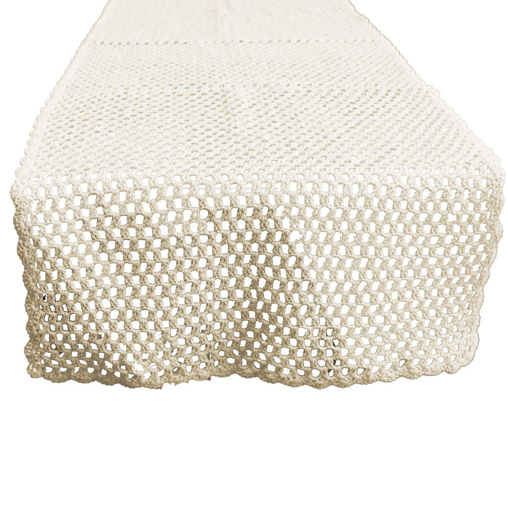 KEPSWET Simple Cotton Hollow Out Handmade Crochet Rectangle Table Runner Everyday Decor (14x36 inch, Beige)