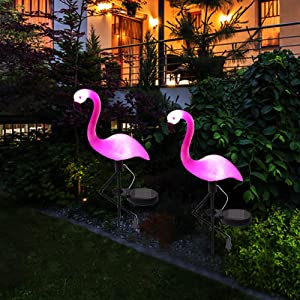 Wilsea Solar Powered Flamingo Lawn Lamp Garden Decor Solar Lights Waterproof Led Light for Outdoor Garden Decorative Stake Lighting (1PCS)