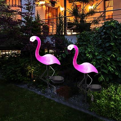 Wilsea Solar Powered Flamingo Lawn Lamp Garden Decor Solar Lights  Waterproof Led Light For Outdoor Garden