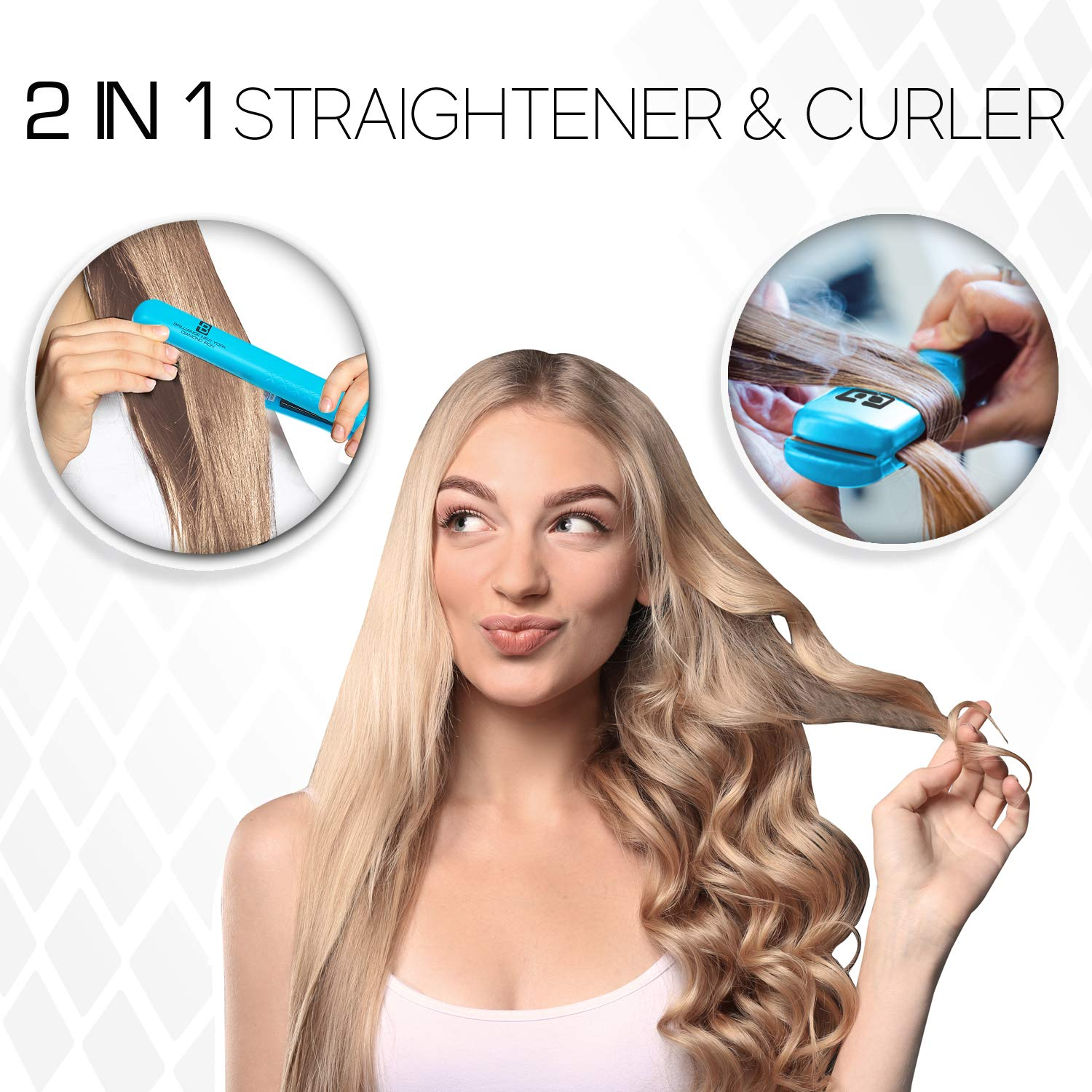 Brilliance New York - 1.25 Inch Diamond Ceramic flat iron - 2 in 1 hair Straightener and Curler - Frizz-free and Anti-static Ionic Plates