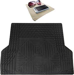TLH Trimmable Quality Heavy Duty Rubber Cargo Mat Trunk Liner Universal for Trucks, Vans, SUVs Black Color w/Beige Dash Pad