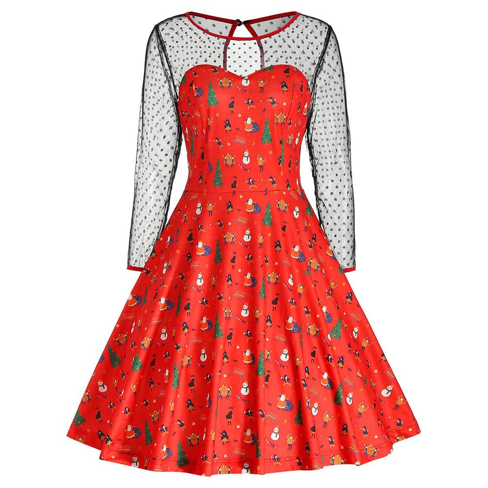 Women Christmas Swing Vintage Dress Print Mesh Patchwork Long Sleeve Party Dress