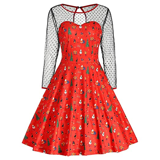 ceb01cfce9c4 Christmas Dress, Women Print Pleated Swing Dress Elegant Mesh Stitching  Long Sleeve Back Key Hole