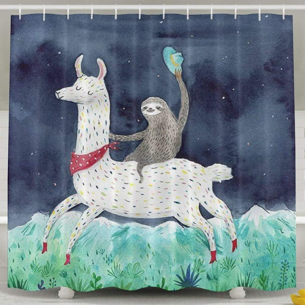 Sloth Riding Llama Shower Curtain,Waterproof Polyester Shower Curtain Sets for Men//Women