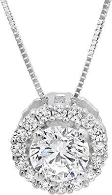 2 ct  Round Cut Solitaire Designer Genuine Flawless VVS1 Champagne Simulated  Diamond White Gold Pendant with 18 Chain