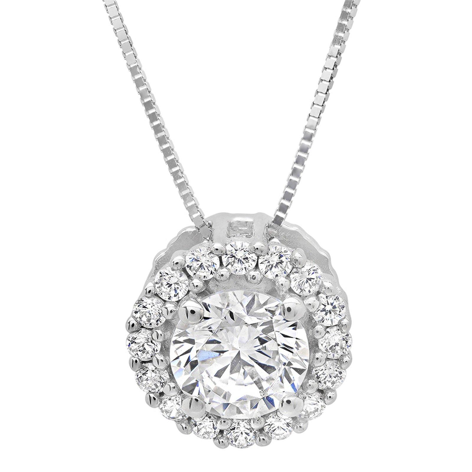 Clara Pucci 1.50 CT Brilliant Round Cut Simulated Diamond Pave Halo 14K White Gold Pendant Box Necklace + 16'' Chain