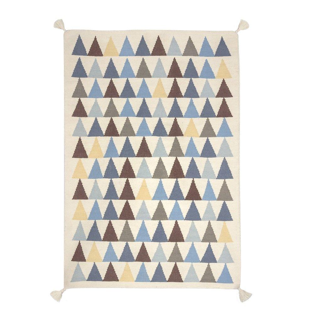 Für Kinder, 140 x 200 cm - 100 Prozent handgeknüpft hochwertige, robuste und schöne Virgin Wool Kilim-Teppich, Blau