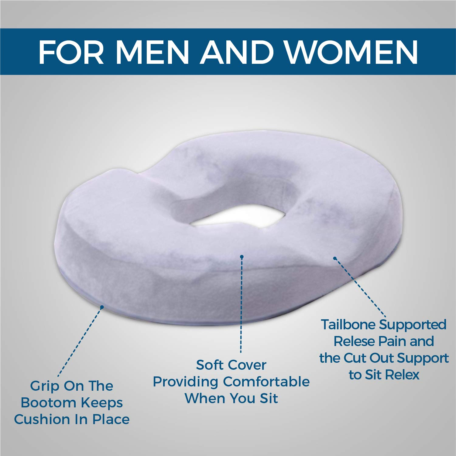 Grey Donut Pillow | Hemorrhoid Coccyx Tailbone Seat Cushion | Pain Relief | Premium Comfort | Contoured Cushion for Prostate, Pregnancy, Surgery, Post Natal Sciatica Relieves Pressure by Dr. Flink
