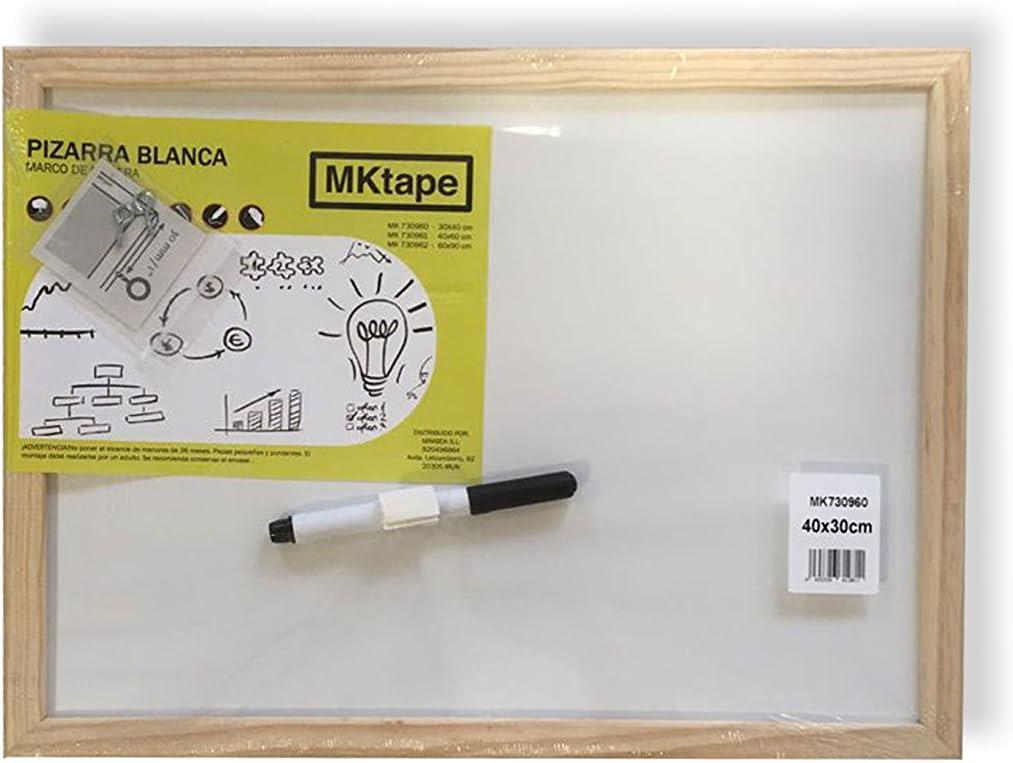 Mktape MK730960 - Pizarra con marco de madera, 30 x 40 cm, color blanco