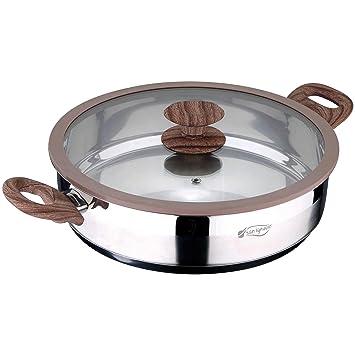 San Ignacio Bateria de Cocina Profesional 11 Piezas colección Granito, Ø24, Ø26 y Ø28, sartén Grill de 28x28 cms, y ollas con Tapa: Ø28x7 y Ø20 y ...