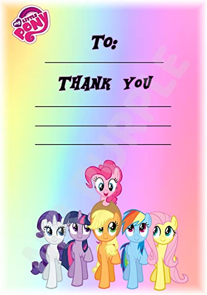 My Little Pony – gracias por venir fiesta tarjetas – Pony – HUDDLE Portrait diseño – fiesta suministros/accesorios (Pack de 12 A6 tarjetas de agradecimiento) WITH Envelopes: Amazon.es: Oficina y papelería