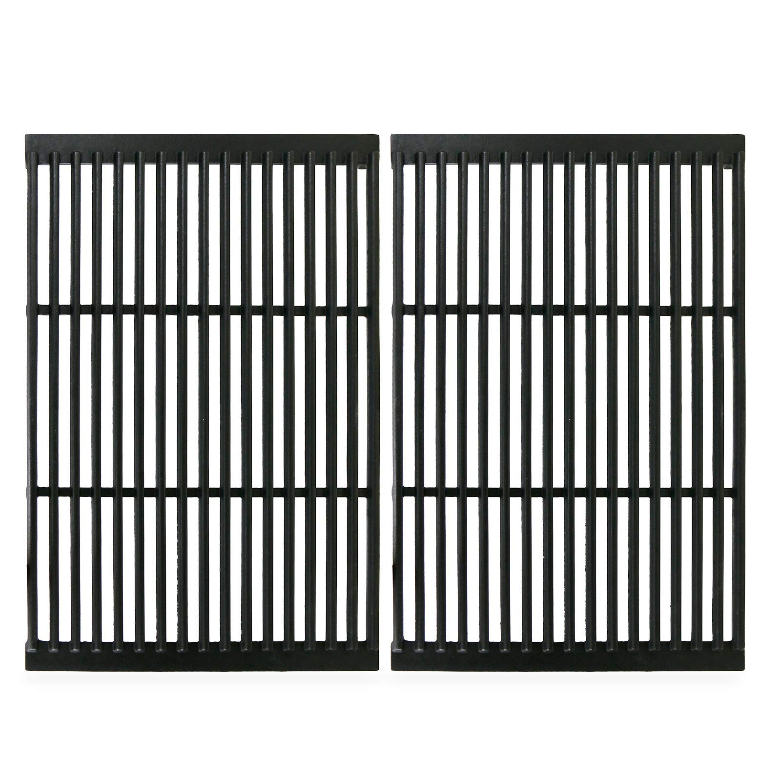 "Hisencn Matte Cast Iron Cooking Grate 19"" x 12.5"" Replacement for Charbroil, Brinkmann, Charmglow, Broil-Mate, Grill Pro, Grill Zone, Sterling, Turbo, Grill Chef Grill Grid Set of 2"