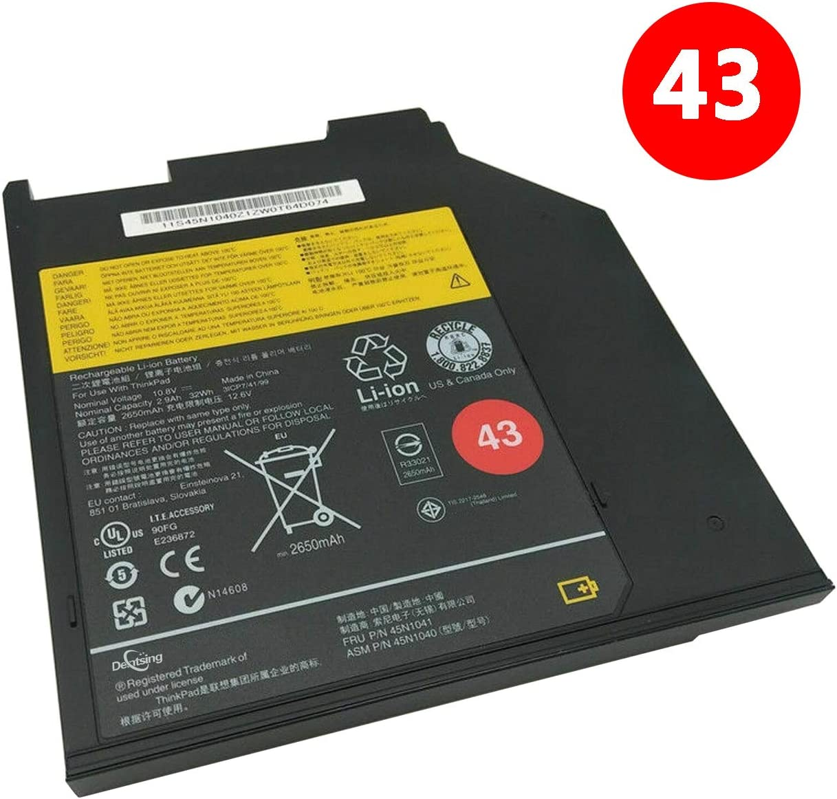 Dentsing 45N1041 (10.8V 32Wh/2650mAh 3-Cells) Laptop Ultrabay Battery Compatible with Lenovo Thinkpad T400S T410S T420S T430 T430S T500 Series Notebook 43 45N1040 0a36310