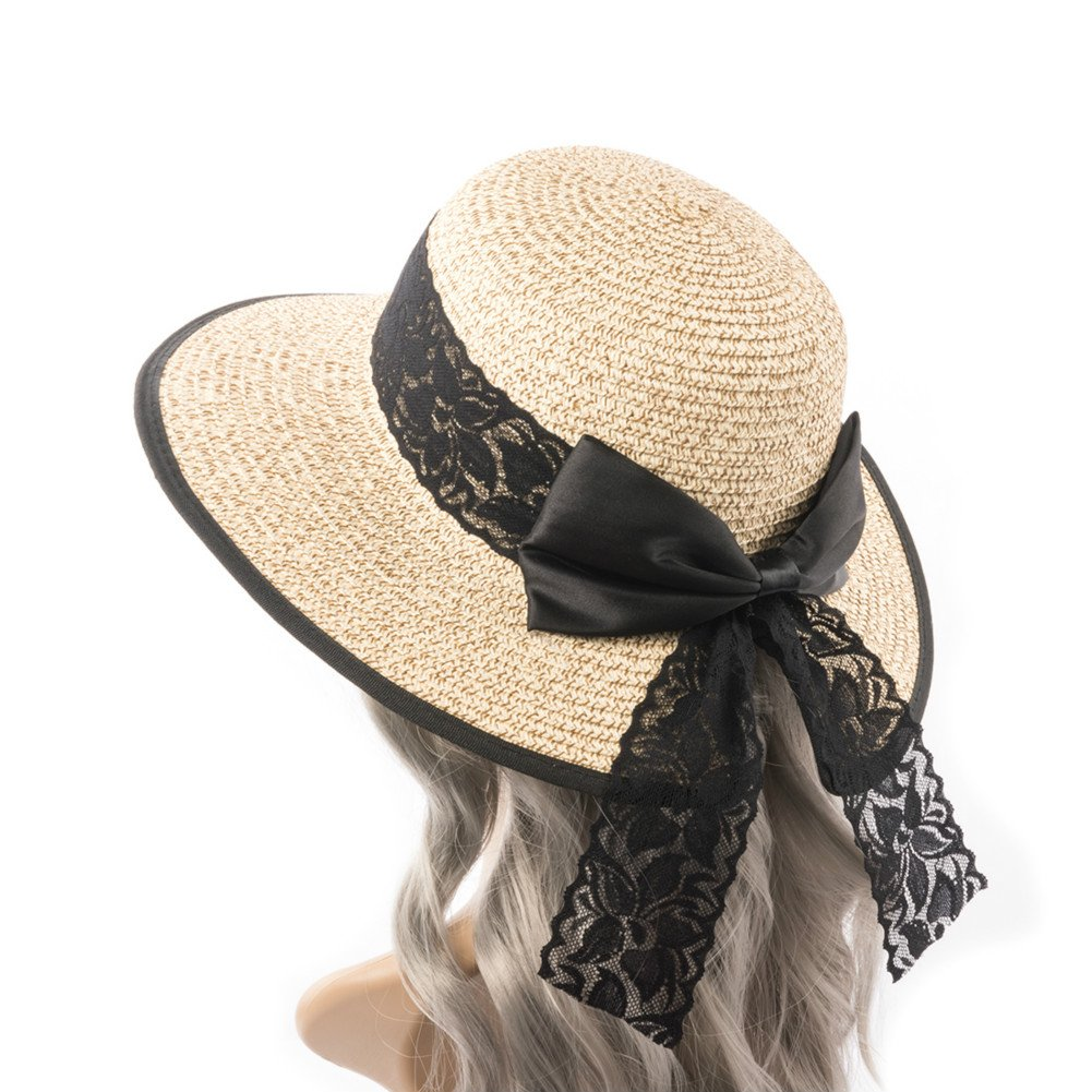 "Hollosport Women Fashion Beach Straw Sun Hat, UV Protection Wide Brim, Foldable 22-23"" (Beige)"