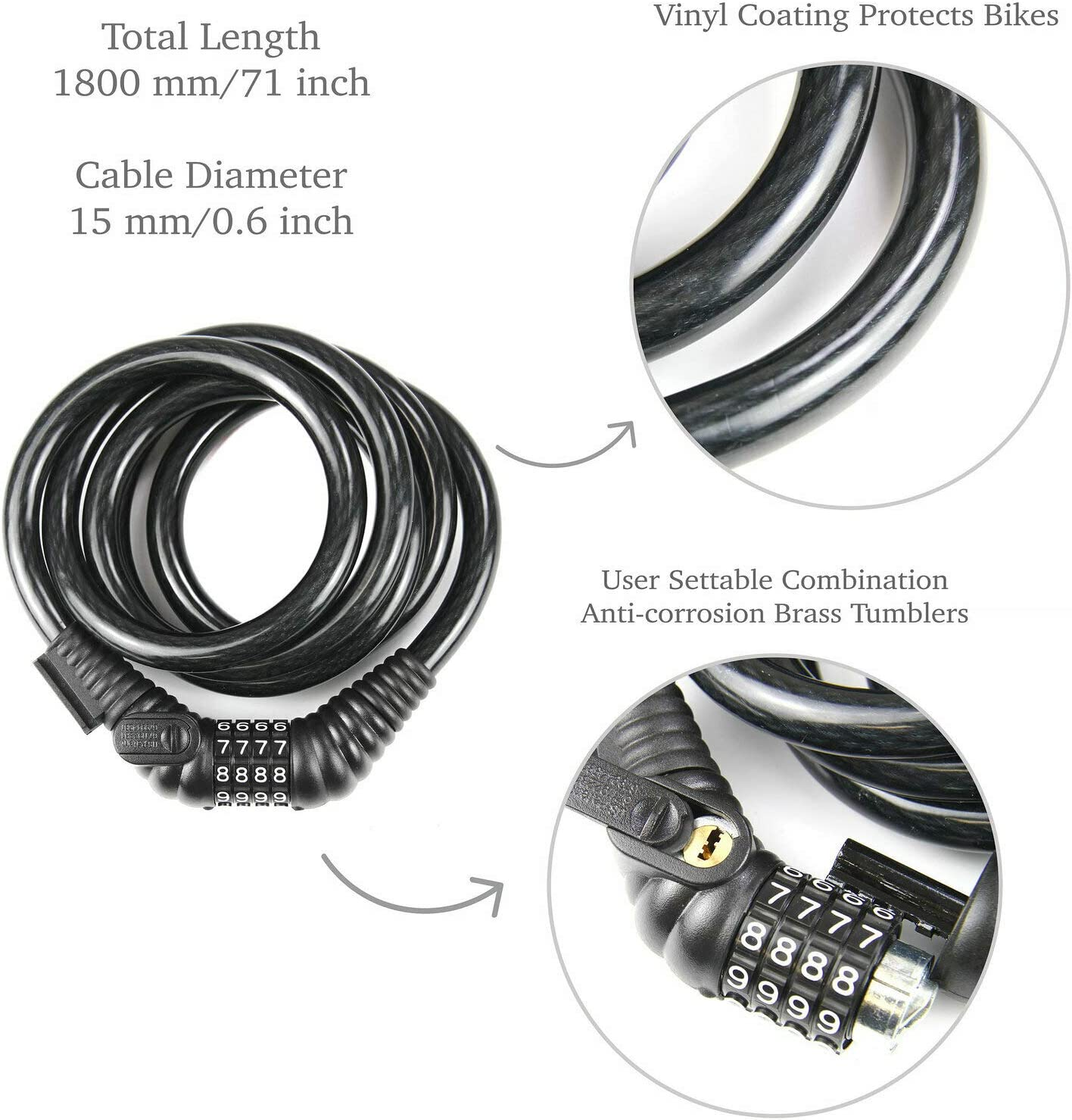 CyclingDeal Bike Bicycle Lock Cable 5.9 Feet Bike Cable Basic Self Coiling Resettable Combination Cable Bike Locks with Key Function 3//5 Inch Diameter
