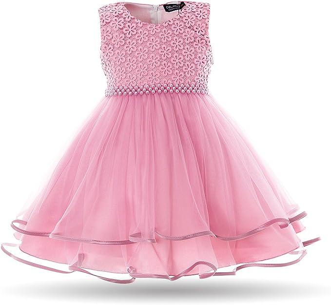 Mädchen  Kleid Party Ärmelloss Sommer Perlen Blümenmädchen Kleid