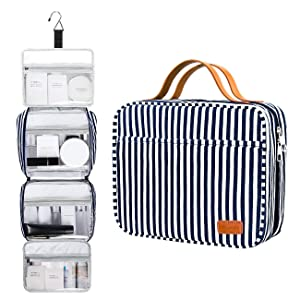 Hanging Travel Toiletry Bag,Large Capacity Cosmetic Toiletry Travel Organizer for Women/Men with 4 Compartments & 1 Sturdy Hook,Perfect for Travel/Daily Use (Navy Blue & White Striped)