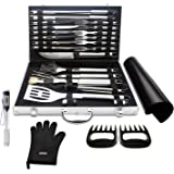 BBQ Fanatik BBQ Tool Set - 28 Piece w/ Meat Claws Shredder, Digital Food Thermometer, Grill Mat & Glove for a Complete Accessories Bundle