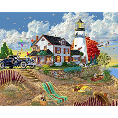 Vermont Christmas Company Lighthouse Visitors Jigsaw Puzzle 1000 Piece: Toys & Games