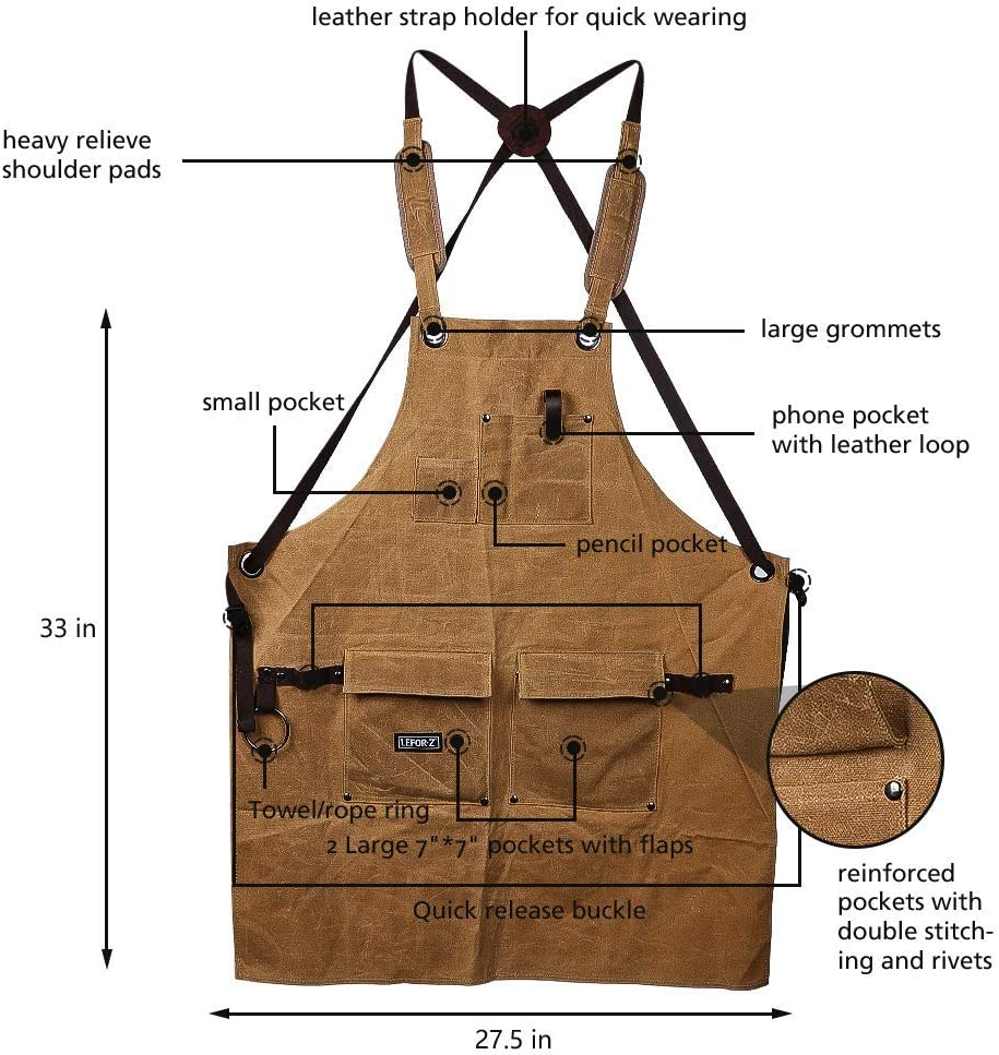 Brown Waxed Canvas Shop Apron for Men /& Women.Woodworking Aprons Heavy Duty Work Apron with Pockets Big Bulk Tool Apron with Adjustable Cross-Back Strap.Adjustable S to XXL