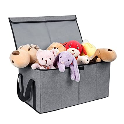 Collapsible Toy Chest Box Large Baby Toy Storage Basket With Flip Top Lid  And Handles