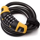 MEETLOCKS Resettable Combination Bike Locks, stronger Coiled Cable Size 12x1200mm(1/2 Inch x 4 Feet)
