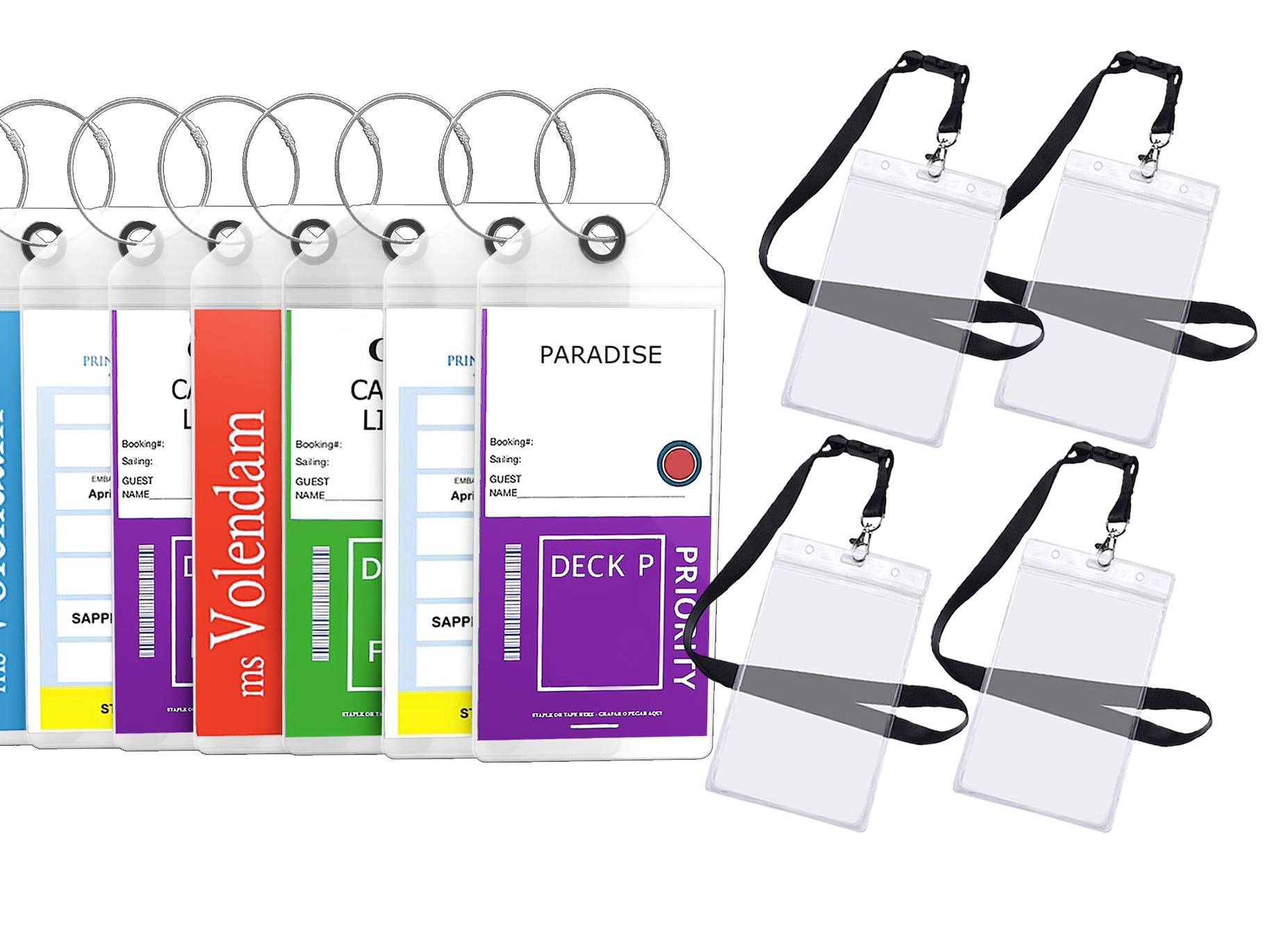Cruise Luggage Tags Etag Holders Zip Seal & Steel Loops Thick PVC - (8 Pack + 4 ID Holders) by Highwind