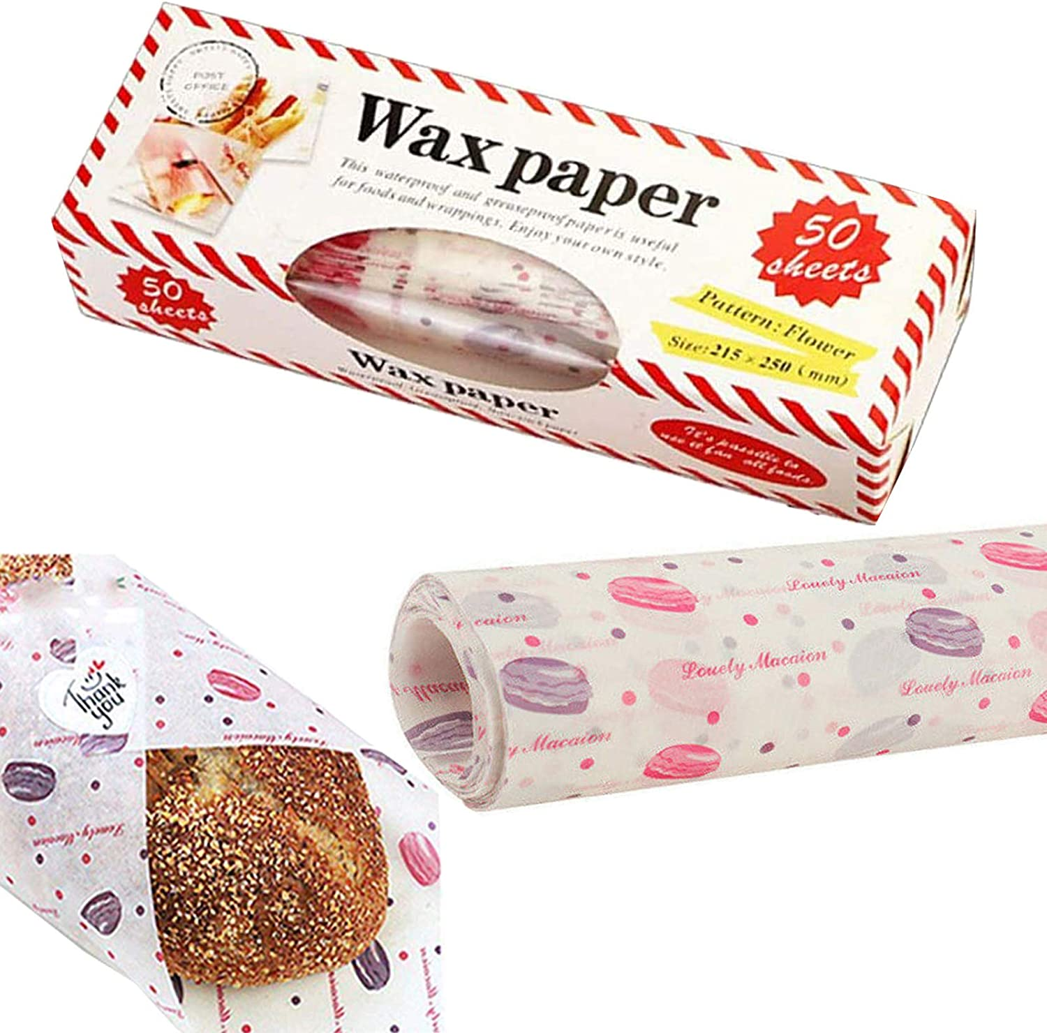 50 Sheets Wax Paper Food Picnic Paper Disposable Food Wrapping Greaseproof Paper Food Paper Liners Wrapping Tissue for Plastic Food Basket (Pink Hamburger)