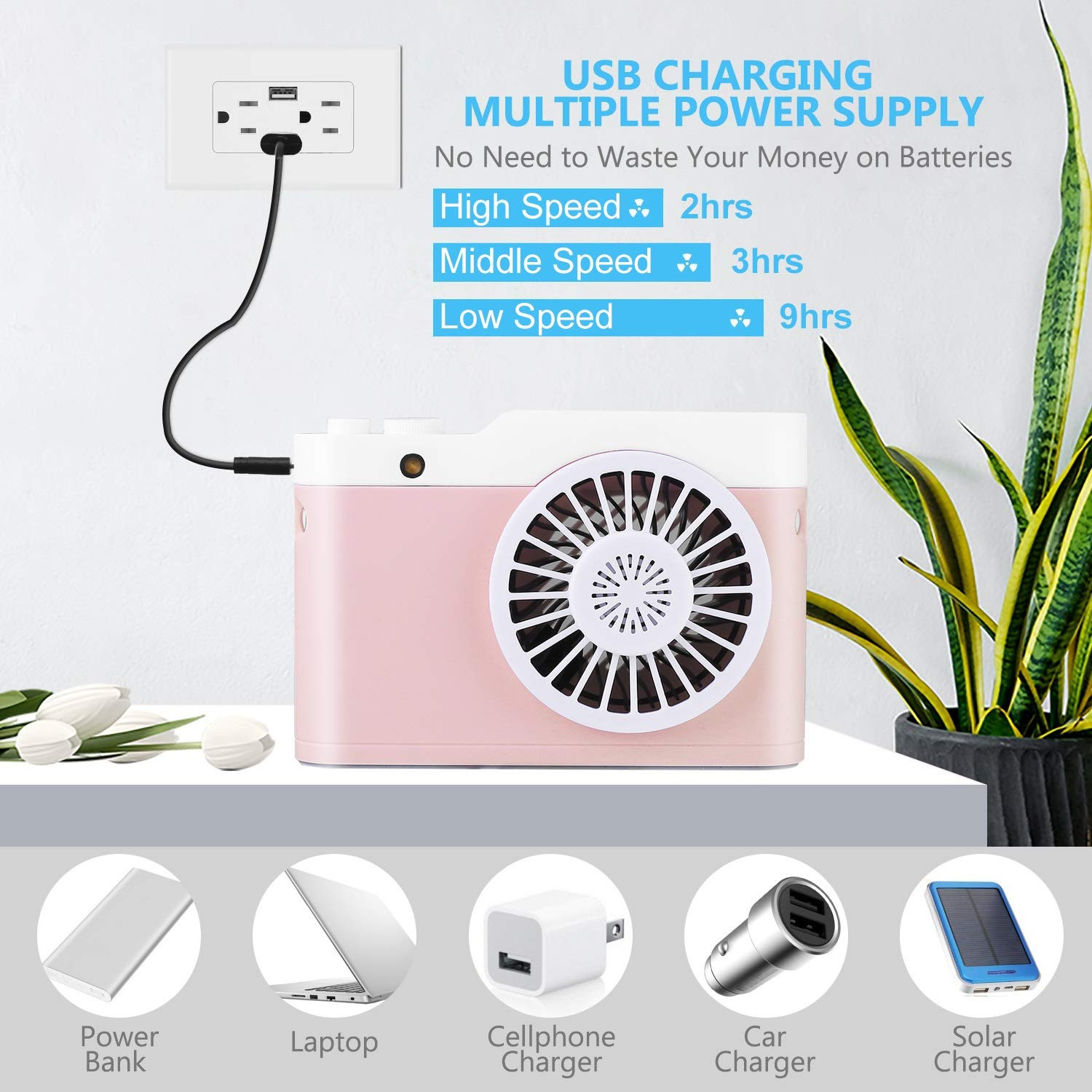 Air Cooling Fan Handheld Mini Fan Powerful Small Personal Portable Fan USB Rechargeable Fan for Home Office Outdoor Travel Color : 04
