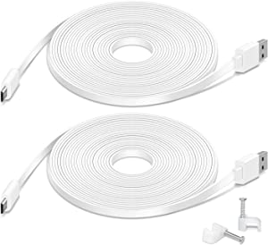 2 Pack 26FT Flat Power Extension Cable Compatible with Wyze Cam Pan, Wyze Cam v3, Kasa Cam, YI Dome Home Camera, Furbo Dog, Nest Cam, Blink, Cloud Camera, Durable Charging Cable for Security Cam