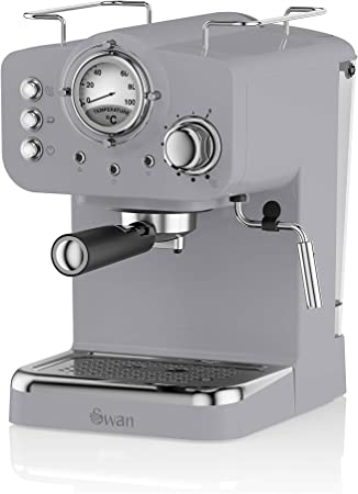 Swan SK22110GRN, Retro Pump Espresso Coffee Machine, 15 Bars of Pressure, Grey: Amazon.es: Hogar