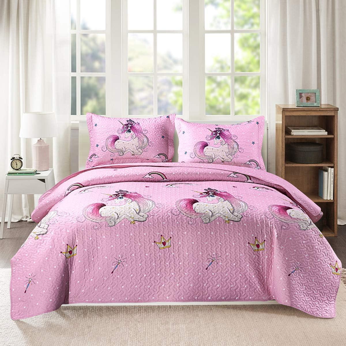 Kids Unicorn Quilt Set With Sham Full Queen Size Animal Cartoon Bedding Set Soft Reversible Bedspread Coverlet All Season Bed Set For Kids Teens Girls 1 Quilt 2 Pillowshams Pink Kitchen