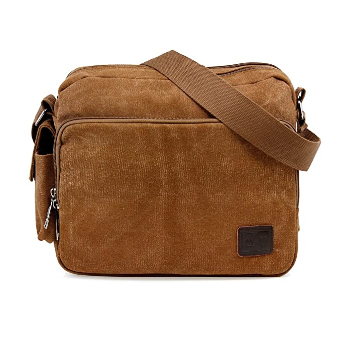 139ce634a37 Image Unavailable. Image not available for. Color  Oct17 Men s Vintage  Canvas Crossbody Bag Shoulder Casual Handbag School Messenger Bags Satchel  - Coffee