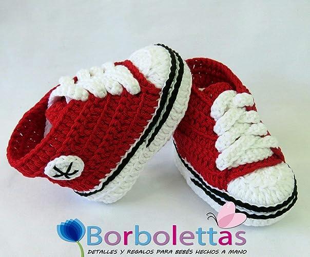 Patucos para Bebé Recién Nacido tipo Converse, 0-3 meses Rojo. Handmade. Crochet. España