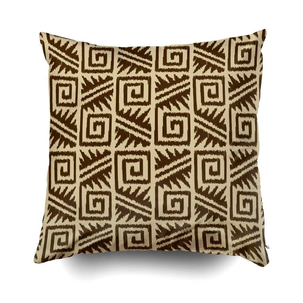 ikat azteca tribal marrón oscuro y bronceado cojines ...