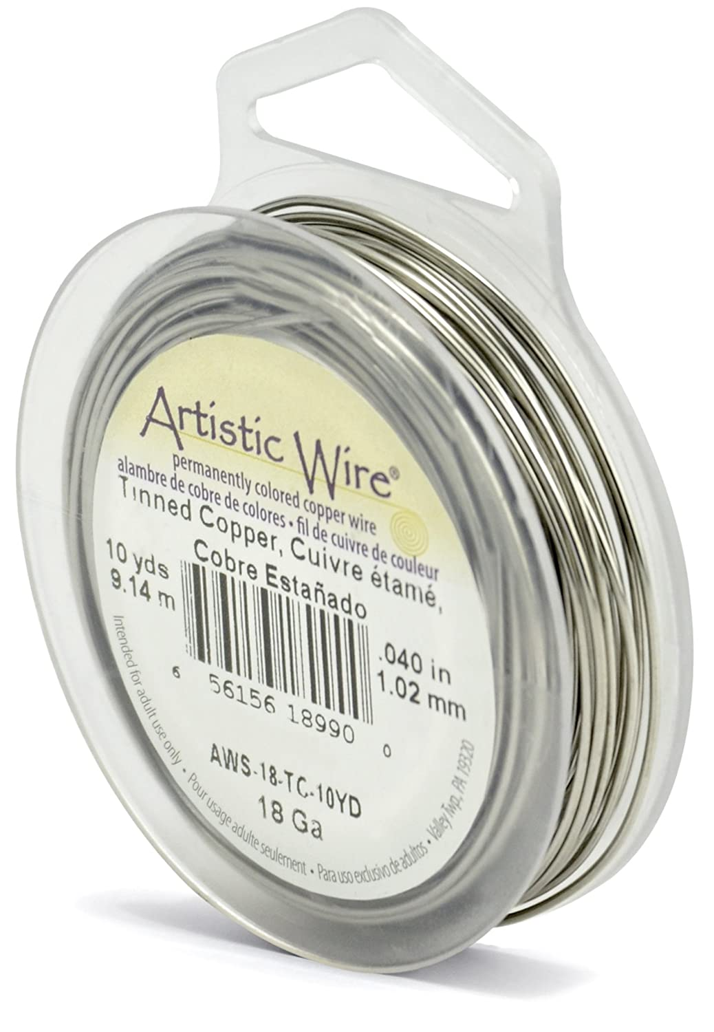 Beadalon Artistic Wire 18-Gauge Tinned Copper Wire 10-Yards