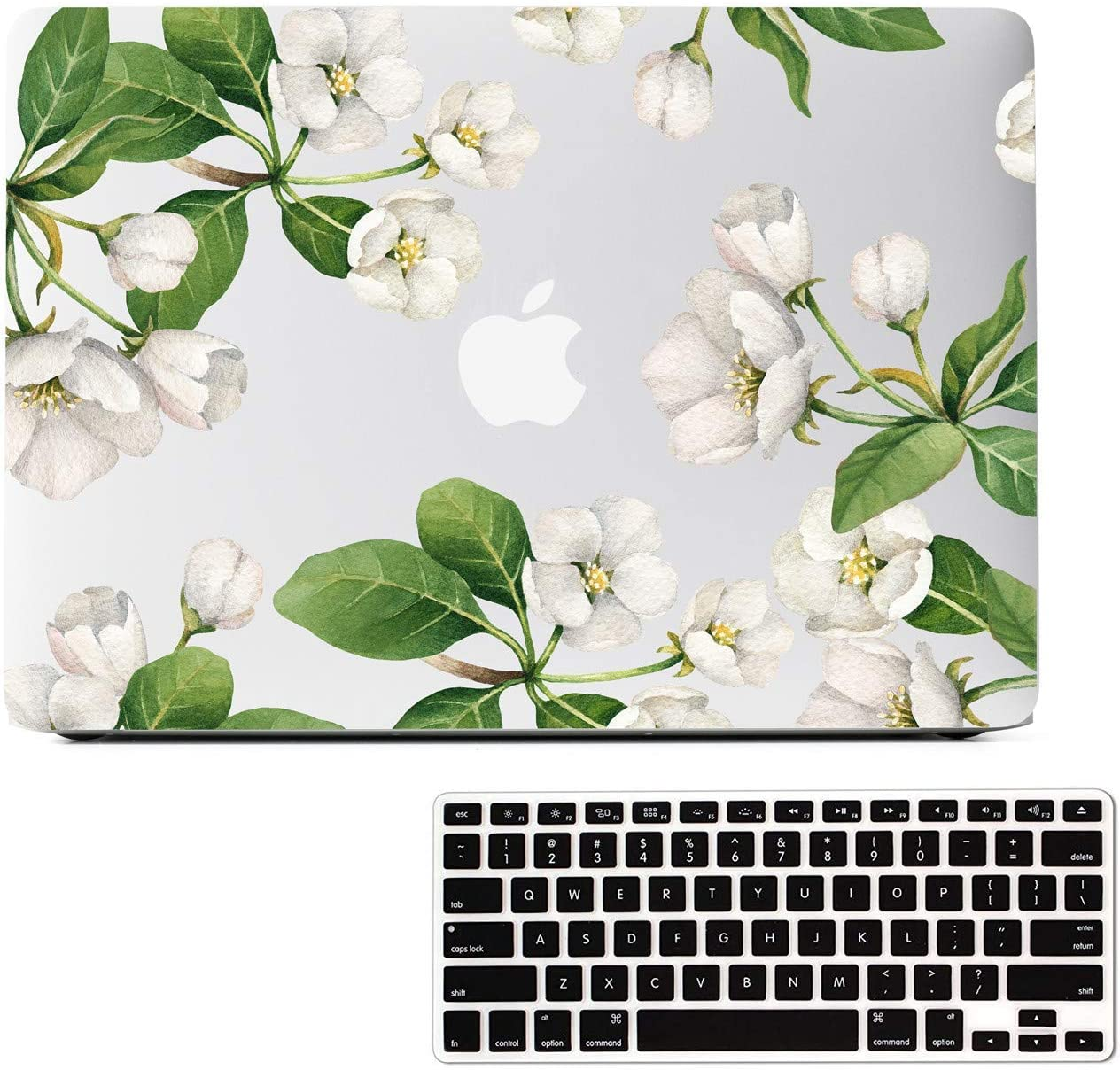 MacBook Air 13.3 Inch Case Flower, White Apple Flower Clear Case, Matte Soft-Touch Hard Shell Case Cover Model A1466 A1369 with Keyboard Cover 2010-2017