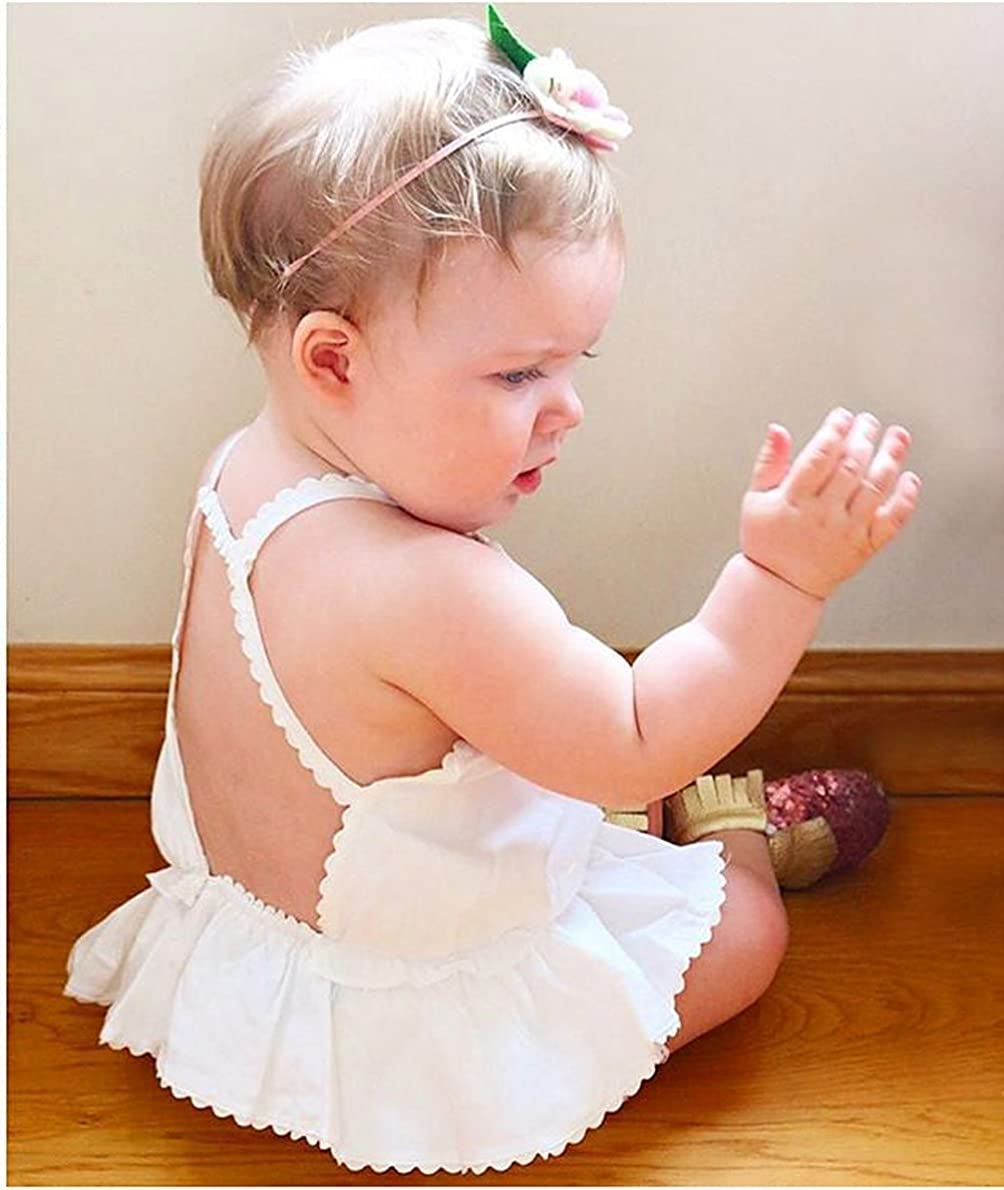Zoes wardrobe Baby Girls Sleeveless Vest Tee Back Bandage Tank Top Flounce Hem Loose Blouse