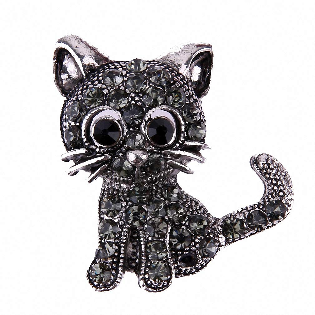 Jana Winkle Vintage Black Crystal Cute Cat Brooch Pins Women Brooch Pin Up Brooch Accessories
