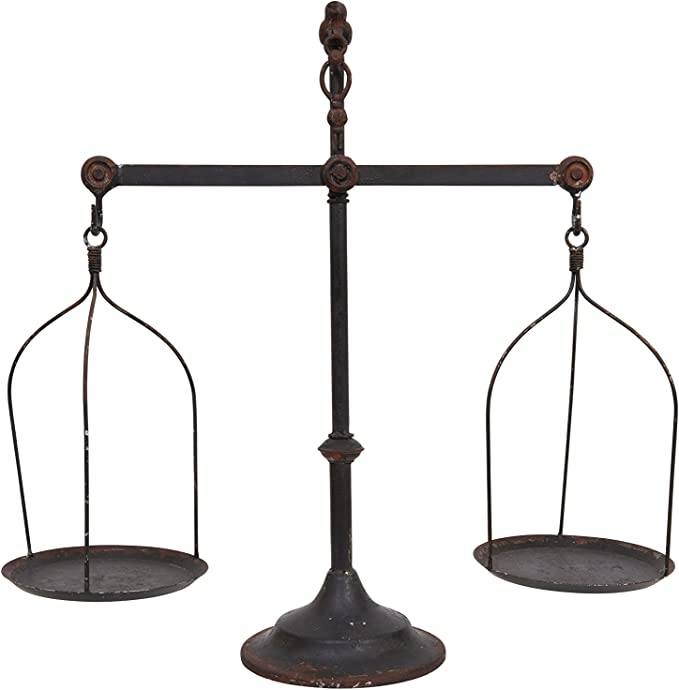 Creative Co-op Decorative Distressed Vintage Metal Scale with Bird Finial,  Bronze