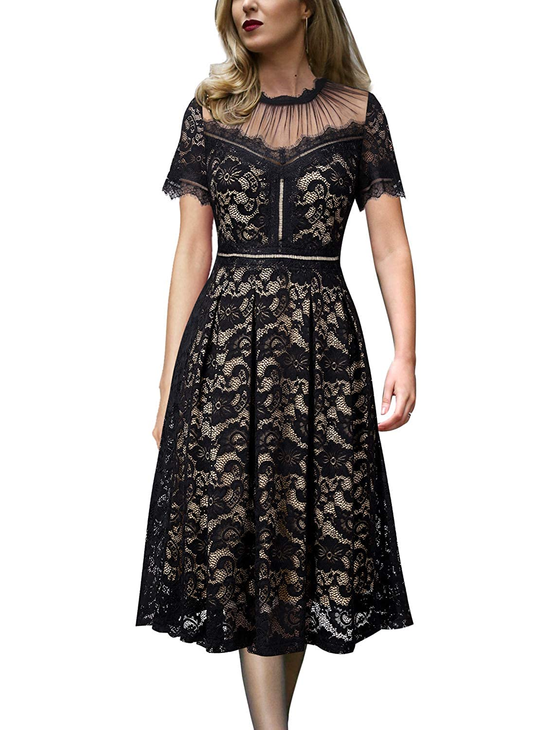 ee970da263d2 VFSHOW Womens Floral Lace Pleated Cocktail Wedding Party A-Line Midi Dress  at Amazon Women's Clothing store: