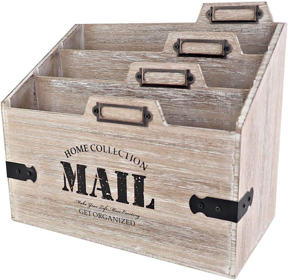 25DOL - Mail Organizer Desktop Mail Holder - Wooden Desk Organizer, File Holder and Mail Sorter - 5.5 x 9.8 Inch Letter Sorter - Rustic Desk Organizers and Accessories, File Folder and Mail Tray